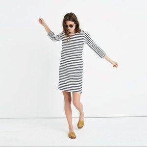 Madewell Knit Navy Striped Shift Dress